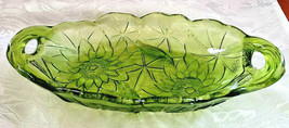 "Vintage Indiana Glass Avocado Green Relish Dish, Lily Pons, 9.5"" with Handles"