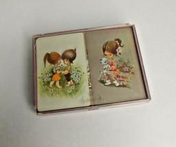 Vintage Hallmark Stardust Nu-Vue Cute Girl And Boy Bridge Playing Card Set - $18.69