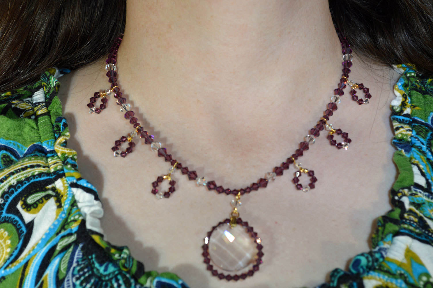 Crystal Wavelet and Beaded Loop Necklace
