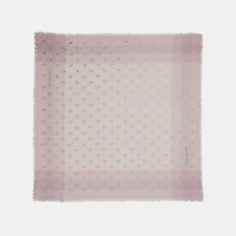 COACH Flamingo Gold Foil Windowpane Challis Scarf Light Pink Gift Box & ... - £60.01 GBP
