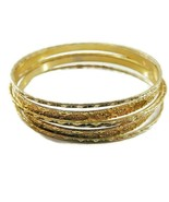 6 Vintage Bangles Bracelets Bright Gold Tone Textured - $12.50