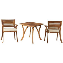 Teak Oiled Outdoor Patio 3 Piece Dining Set with Cushions - New! Exclusive! - £412.78 GBP
