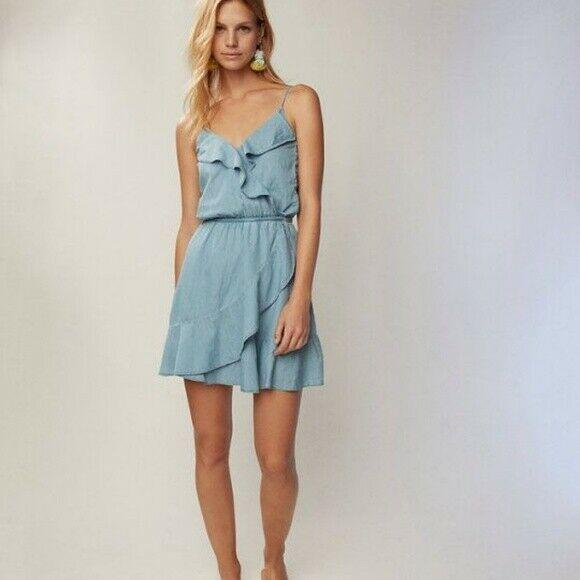 Express Denim Ruffle Front Dress image 4