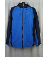 Helly Hansen Mens Jacket Sz L Racer Blue Hooded Outdoor Quasar Rain Jacket  - $97.90