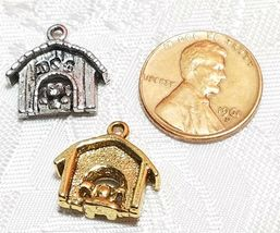 DOG IN DOGHOUSE FINE PEWTER PENDANT CHARM - 16mm L x 15mm W x 5mm D image 3