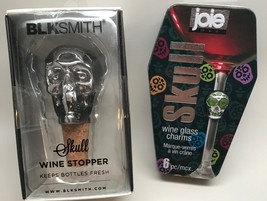 Blksmith Skull Wine Stopper And Skull Wine Glass Charms Joie Set of 6 ... - $12.86
