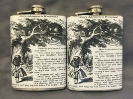 Set of 2 Alice in Wonderland D131 Flasks 8oz Stainless Steel Drinking Wh... - $13.81