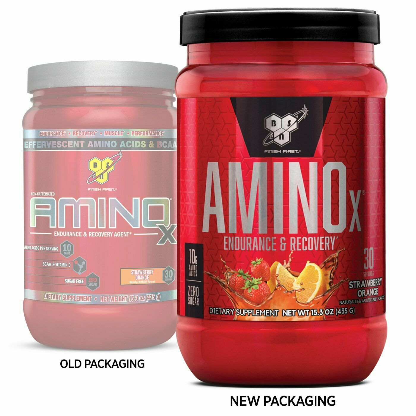 BSN Amino X Muscle Recovery & Endurance Powder Strawberry Orange 30 Servings