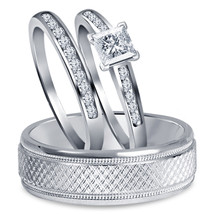 Princess Cut White Sim Diamond 14K White Fn 925 Silver Engagement Trio Ring Set - $148.99