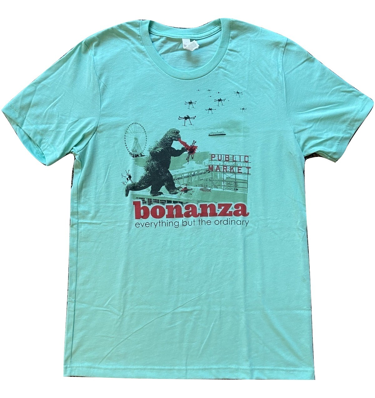 "Primary image for Bonanza ""Bonzilla Drone Attack"" T-Shirt, Blue-Green"