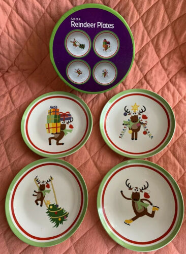 Primary image for Ceramic Christmas Reindeer Appetizer Snack Plates Holiday Set of 4 In Box