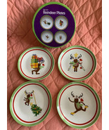 Ceramic Christmas Reindeer Appetizer Snack Plates Holiday Set of 4 In Box - $18.80