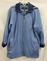 London Fog All Weather Suede Zip Lined Blue Jacket with Hood Sz M EUC 1099 - $46.44