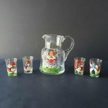 Vintage Schnapps Ewer and Shot Glass Set Yugoslavia Hand Blown Glass Han... - $44.99