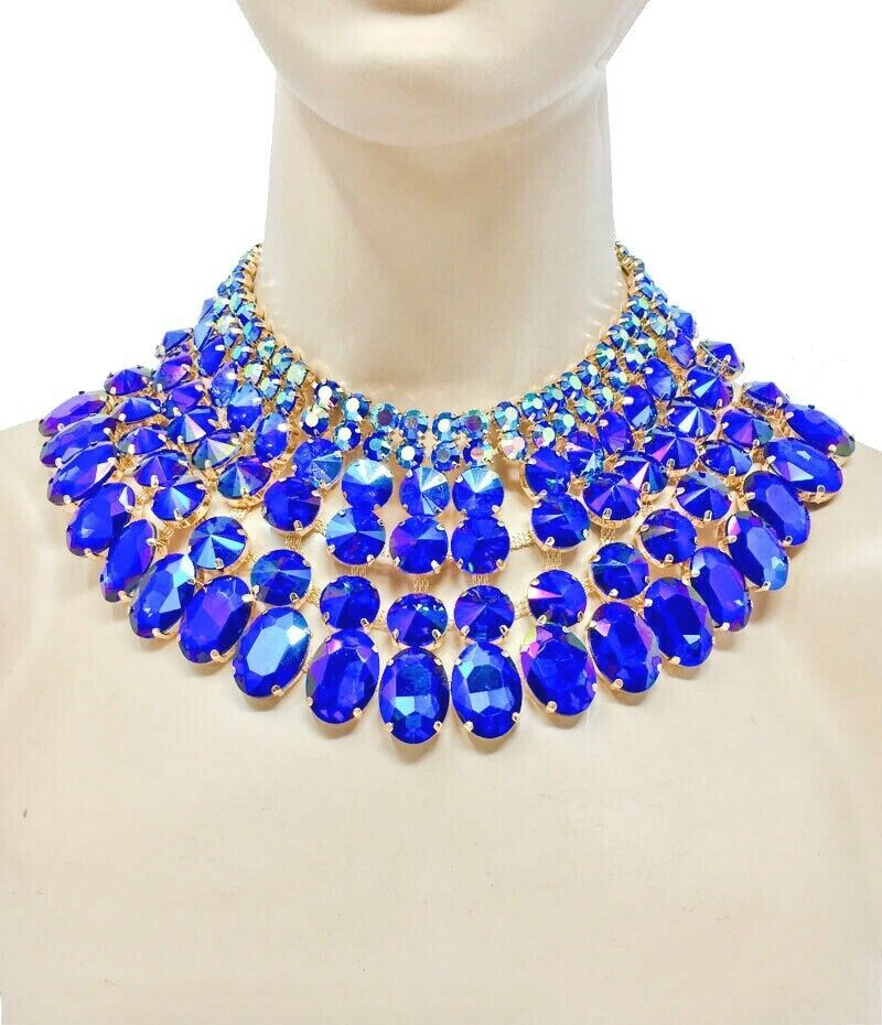 Primary image for Chunky Cleopatra Necklace Earrings Jewelry Set Royal Blue Crystals/ Rhinestones