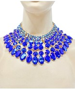 Chunky Cleopatra Necklace Earrings Jewelry Set Royal Blue Crystals/ Rhin... - $59.80