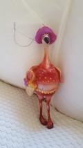 Ready to Shop Flamingo Christmas Tree Ornament Glitter Hat Purse w defec... - $4.75