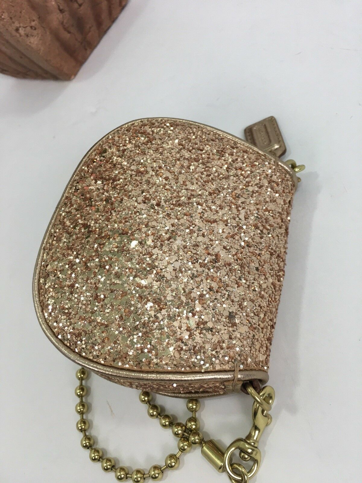 Coach Bag Evening Poppy Gold Sequin Crossbody Leather Chain 43292 Gold B2E image 4