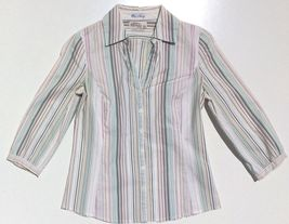 lot 2 dress shirts button 3/4 sleeve fitted stripe Old Navy size XS Express sz 2 image 9