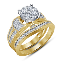 Bridal Engagement Ring Set 14k Yellow Gold Plated 925 Silver Round Cut White CZ - $94.58