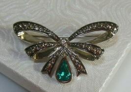 Vintage Signed Avon Rhinestone Ribbon Brooch - $16.99