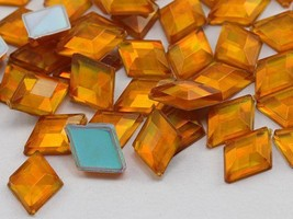 10x7mm Gold AB Flat Back Diamond Acrylic Gems -100 Pieces - $6.25