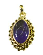 delicate Amethyst Gold Plated Purple Pendant genuine common US gift - $14.84
