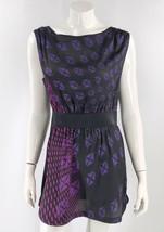 DKNY Dress Size Medium Black Purple Pink Diamond Print Elastic Waist Sle... - $19.80