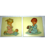 """Vintage Praying Boy and Girl Wall Plaques 1962 PETE HAWLEY 8.5"""" Set of 2 - $34.99"""