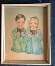 Vintage A Lambert Boy Girl Praying Kneeling Bedtime Prayer Picture & Fra... - $12.99