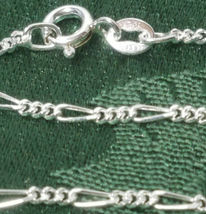 """16"""" 3+1 Figaro Sterling Silver Necklace 3.44 Grams Width: 1.8 Mm image 3"""