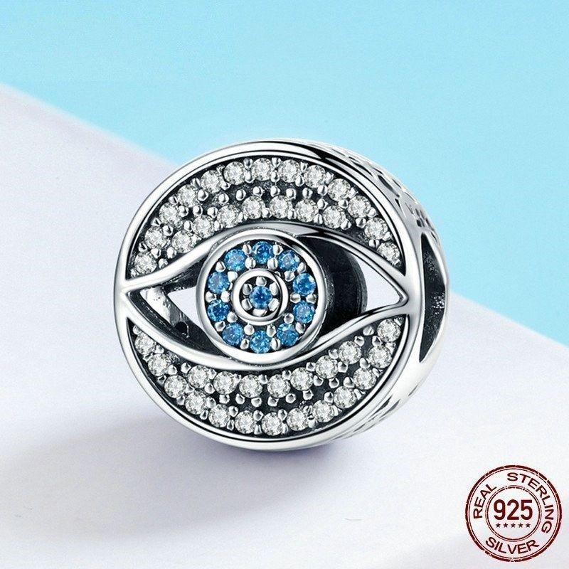 Women Blue Eye Clear CZ Guarding Charm Bead Fit Bracelet Sterling Silver Jewelry