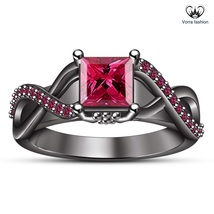 925 Sterling Silver 10k Black Gold Finish Pink Sapphire Infinity Engagem... - $87.53