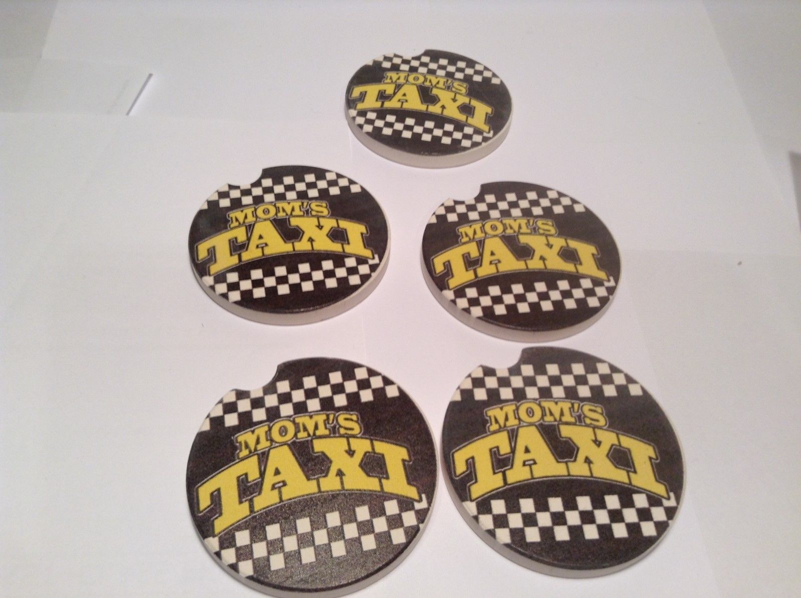 NEW Mom's Taxi Car Ceramic Coaster Set