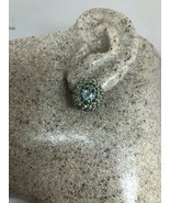 Vintage Blue Aquamarine Earrings Deco 925 Sterling Silver Stud Buttons - $114.84