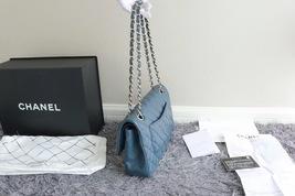 AUTHENTIC CHANEL TURQUOISE BLUE LAMBSKIN MEDIUM DOUBLE FLAP BAG GOLD HW RARE image 2