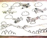 """Airplane Rug 31"""" x 19 1/2"""" Cotton White w/ Design Outlined in Black"""