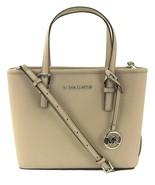 Michael Kors Tote Bag Cement Grey Saffiano Leather Small Handbag Jet Set... - $227.67