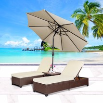 4 PC Outdoor Patio Wicker Rattan Pool Chaise Lounge Chair w/ Adjustable ... - $425.99