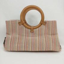FOSSIL Multicolor Straw Handbag! Wood Handles Multi Colors - $25.73