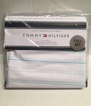 Tommy Hilfiger Signature Sheet Set 4Pc  Full Cotton Blend Stripe White Teal - $46.60