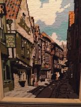 Needlepoint English Shambles Tudor Village Framed 16.5 X 21.5 - $47.49