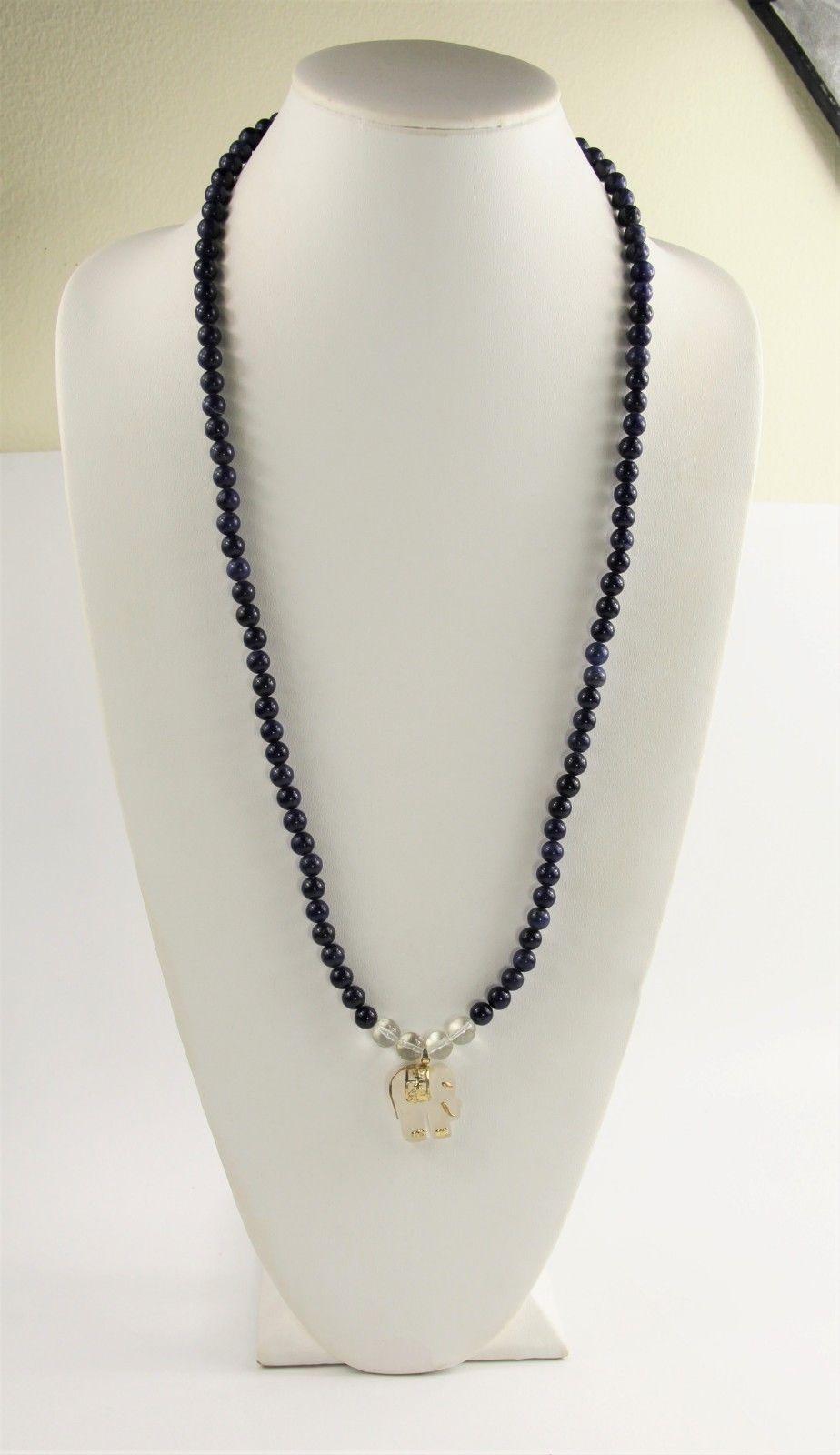 ESTATE VINTAGE Jewelry CHINESE EXPORT LAPIS BEAD QUARTZ SILVER ELEPHANT NECKLACE