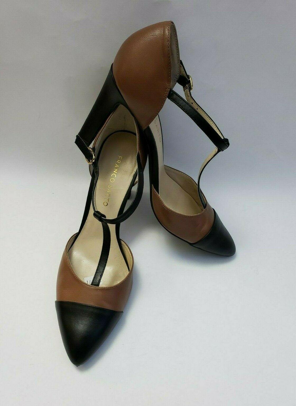 Franco Sarto Shoes Heels Brown Black T-Strap Tanda Womens Size 8.5 M