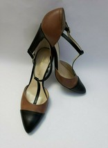 Franco Sarto Shoes Heels Brown Black T-Strap Tanda Womens Size 8.5 M - $44.50