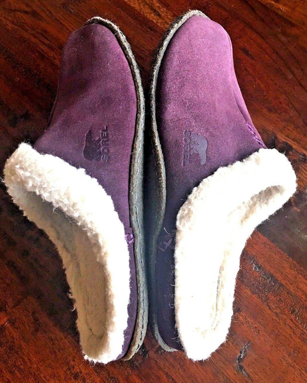 SOREL 9381 Womens Nakiska LILAC Purple Suede Clog Slippers Shoes 6 M #176 image 2