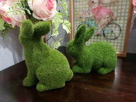 2 GREEN FAUX MOSS EASTER SPRING BUNNY RABBITS FIGURE STATUE  DECOR NEW - $32.99