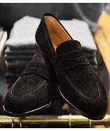 Mens Formal Design Handmade Black Suede Penny Loafers Slips On Moccasin ... - $156.73