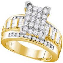 10k Yellow Gold Diamond Rectangle Cluster Bridal Wedding Engagement Ring... - $826.00