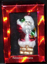 Santa Claus Ornament Christmas Tree Chimney NEW Glass Hand painted - $9.00
